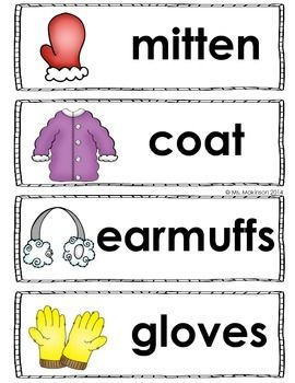 Winter clothing words also best word wall images on pinterest preschool walls rh