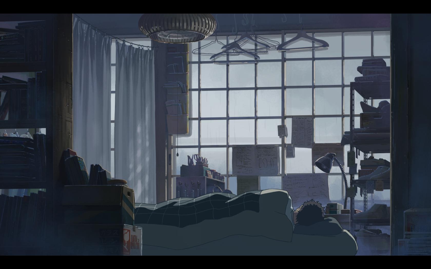 Takao's bedroom in the morning Garden of Words (с