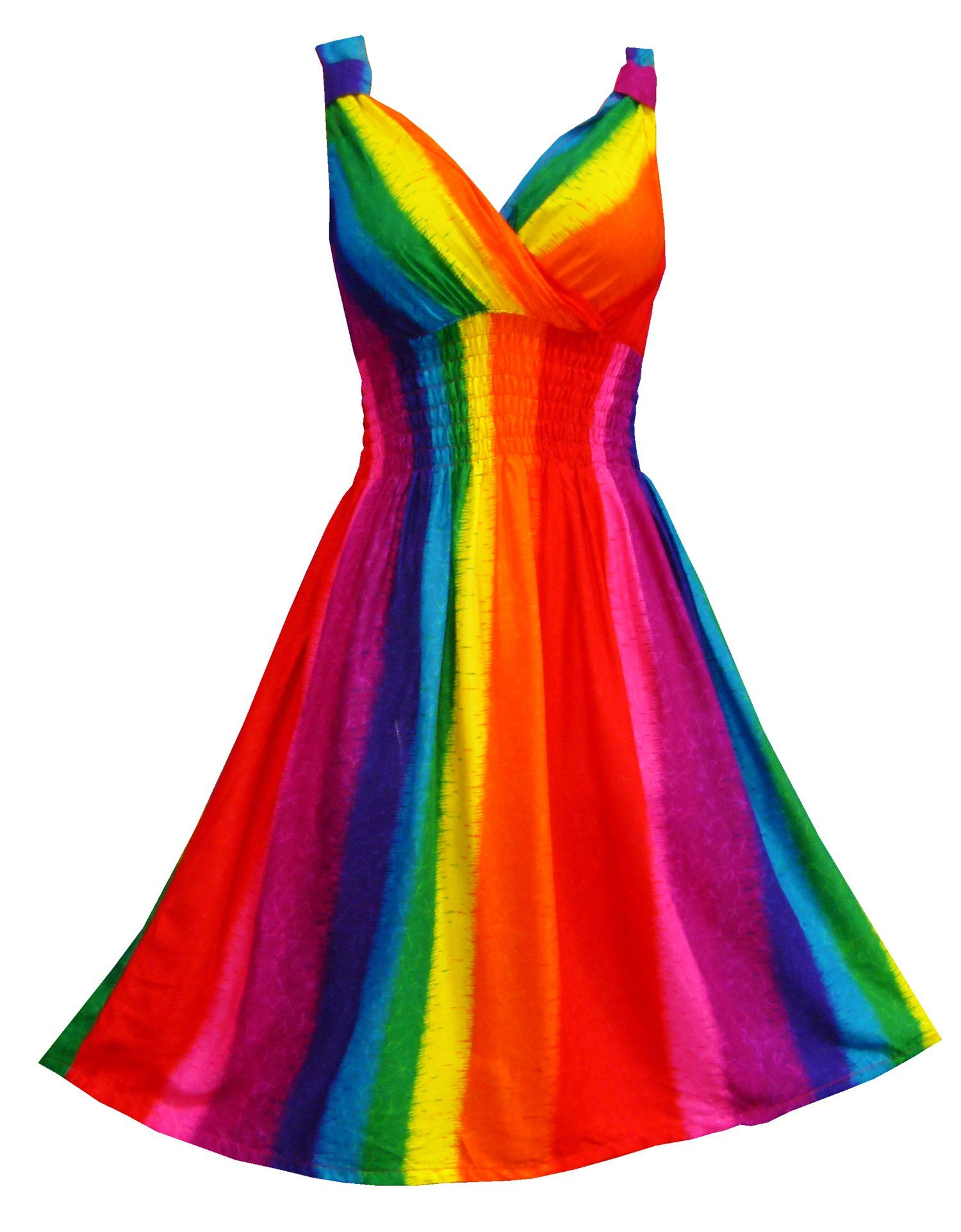 6503c753a4 Lady Rainicorn Costume Idea: Pikulla V-Neck Sleeveless Women's Rainbow  Gypsy Sundress Multicoloured One Size SM | Amazon.com