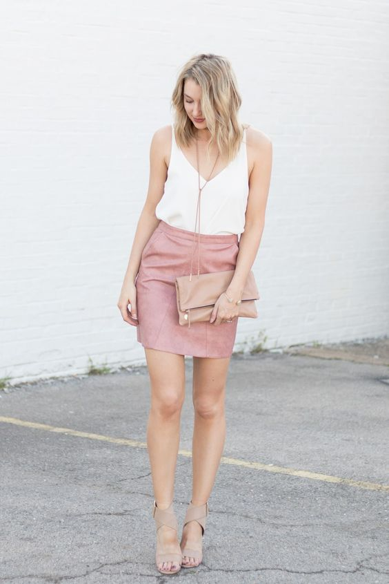 15637c691f @roressclothes closet ideas #women fashion outfit #clothing style apparel  White Top and Pink Mini Skirt via