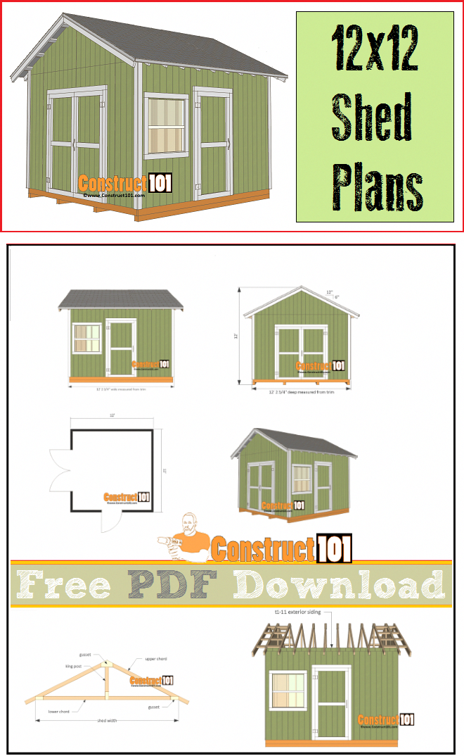 12x12 Shed Plans Gable Shed Pdf Download Construct101 Diy Shed Plans Shed Design Building A Shed