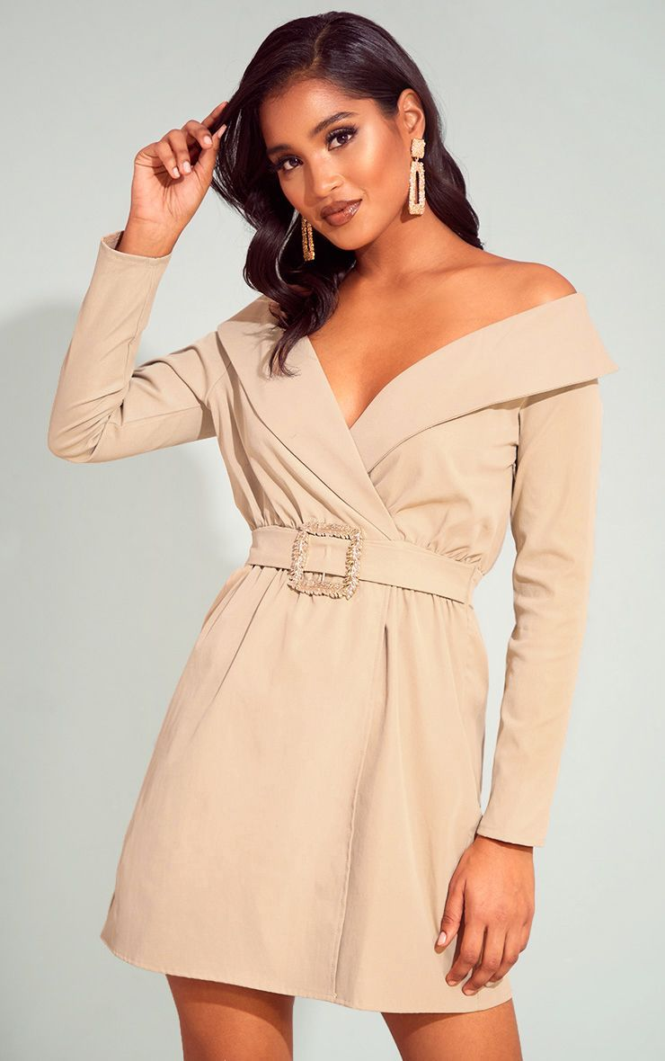 f44ecbfa648d Camel Bardot Belt Detail Shift DressThis shift dress is guaranteed to take  your look to the