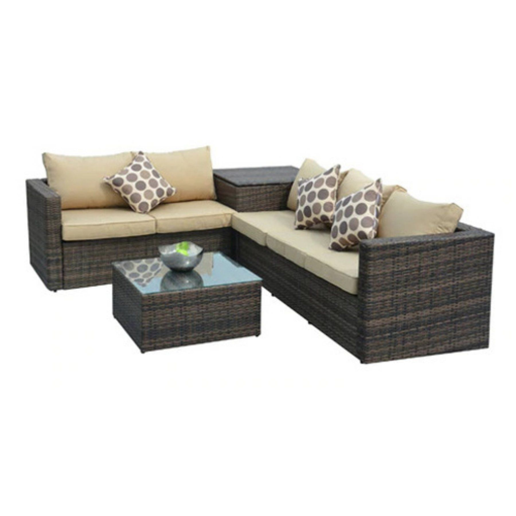 Outdoor direct wicker jasmine brown 4 piece wicker patio furniture conversation set