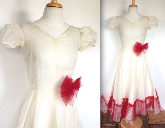 Reserved for Denise - Vintage 1930\'s Dress // 30s 40s Sheer Cream ...