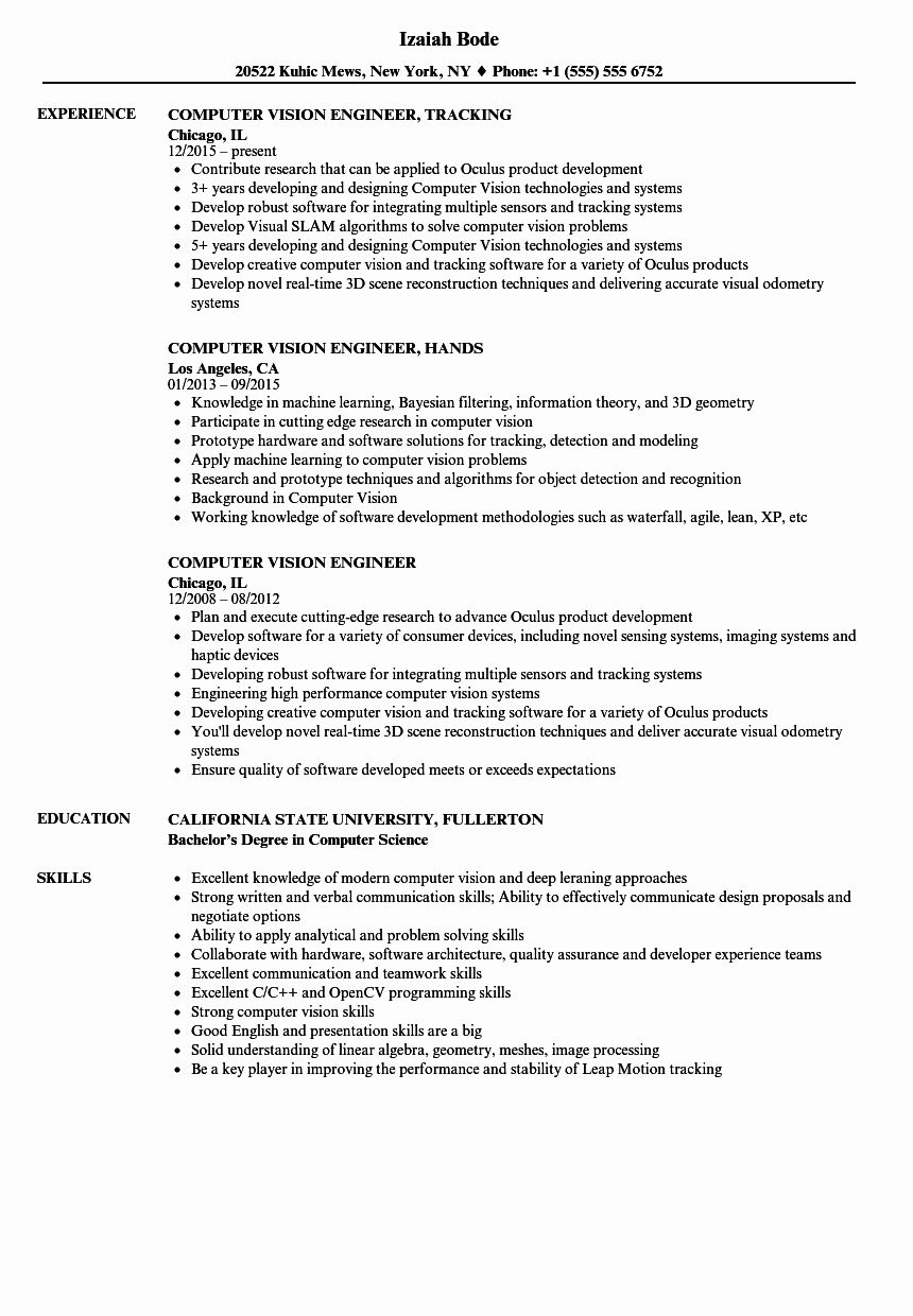 Computer Engineering Resume Examples Fresh Puter Vision