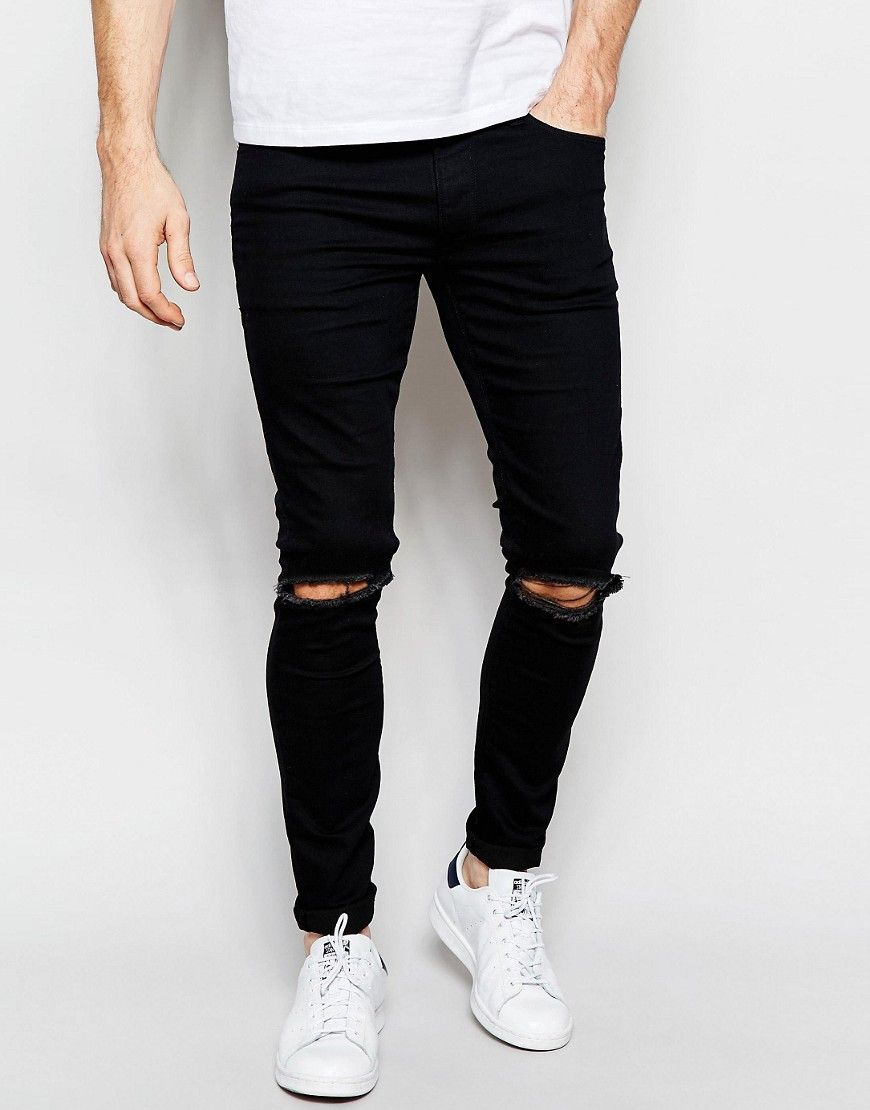 ASOS Extreme Super Skinny Jeans With Knee Rips at asos.com