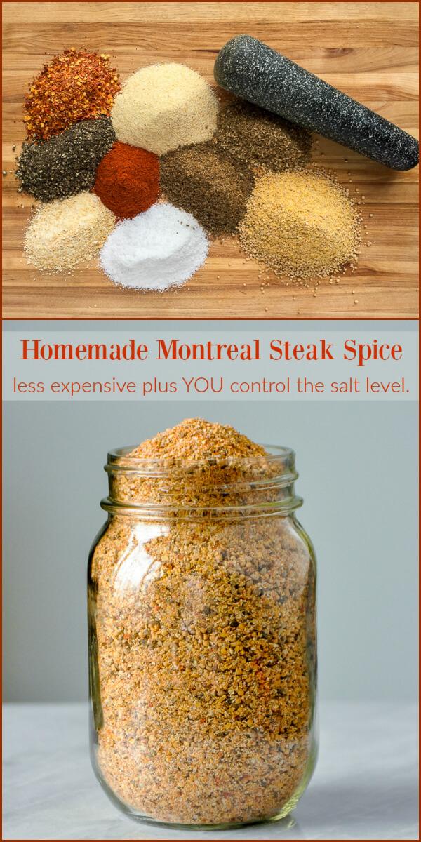 Homemade Montreal Steak Spice - you control the salt level! #homemadeseasonings