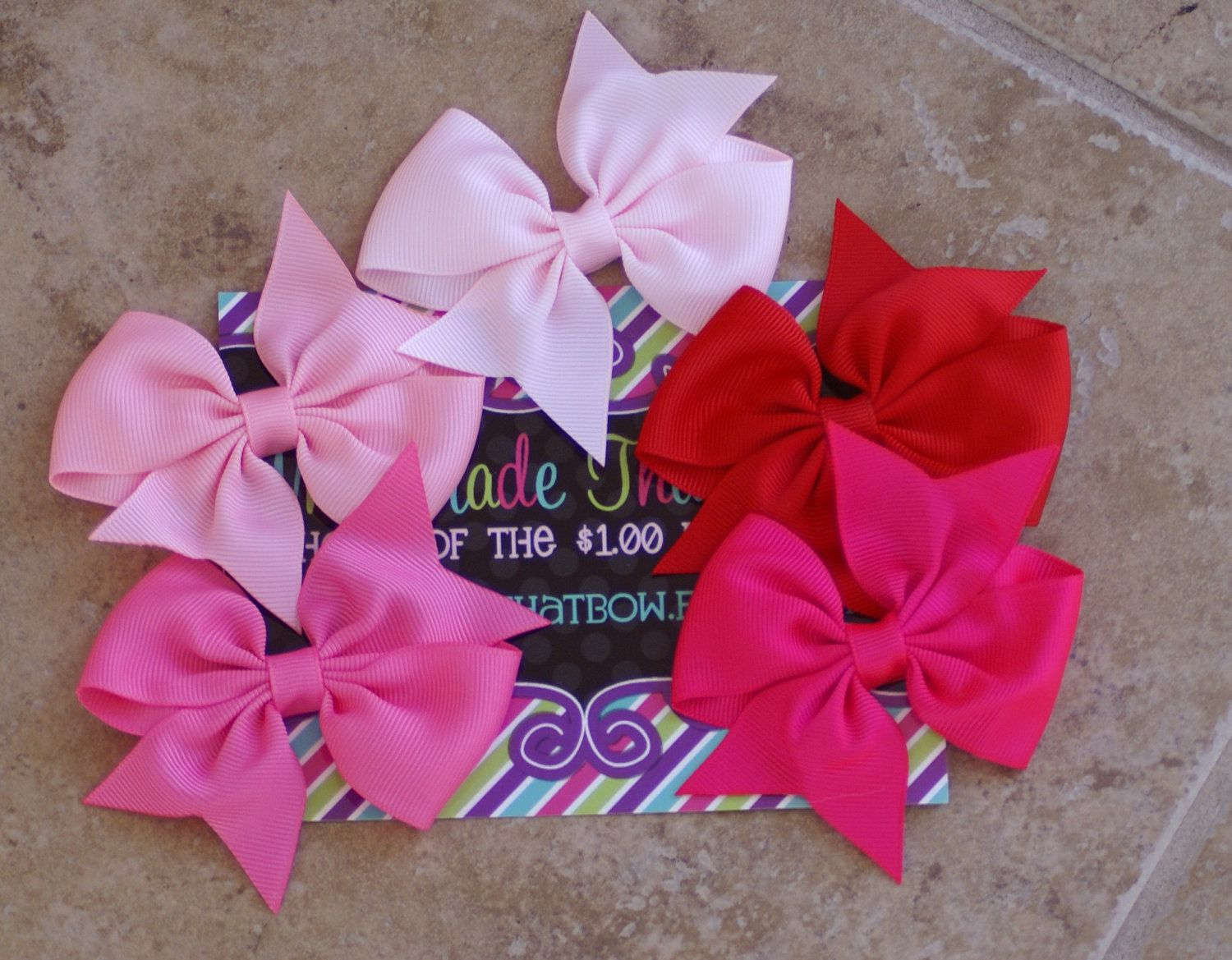 Valentines day hair bows set of hairbows infant toddler big