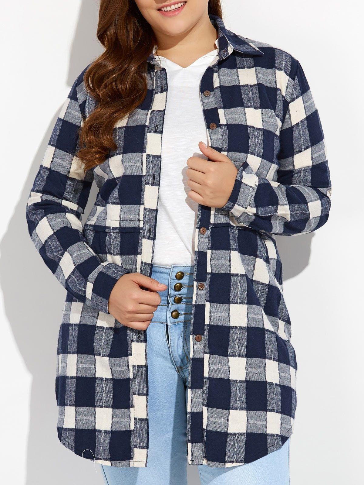 Flannel shirt plus size  Plus Size Plaid Button Up Long Flannel Shirt  Awesome flannels