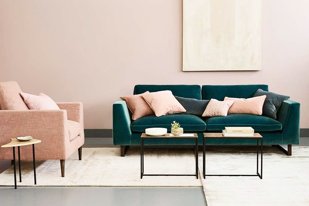 Gorgeous Green Sofa With Pink Walls And Accents | Coco Kelley