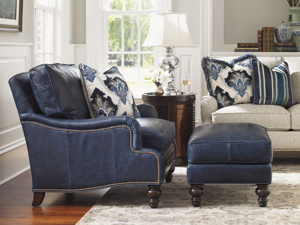 Attirant Blue Leather Chair And Ottoman From Tommy Bahama Furniture | Kilimanjaro  #LHBDesign