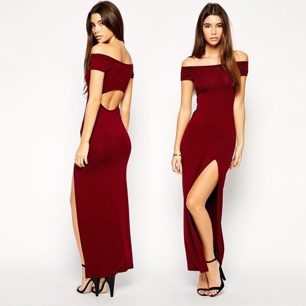 2017 Summer Red Sexy Club Dresses Off The Shoulder S-XXL Vestido de festa  Bodycon Slim Hip Package Hollow Out