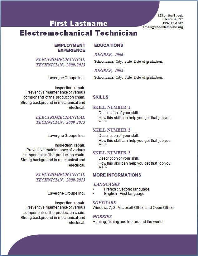 Curriculum Vitae Template Word -    wwwresumecareerinfo - maintenance job resume
