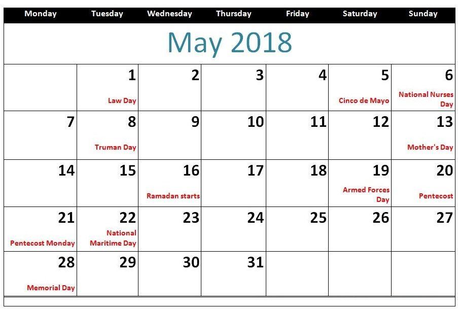 May 2018 Holiday Calendar Template MaxCalendars Pinterest - holiday calendar template