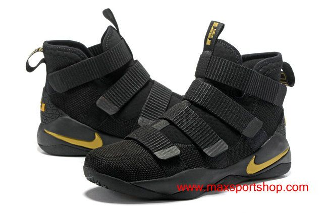 770793f8d44 2017 Nike LeBron Soldier 11 Black Gold Yellow Basketball Shoes ...