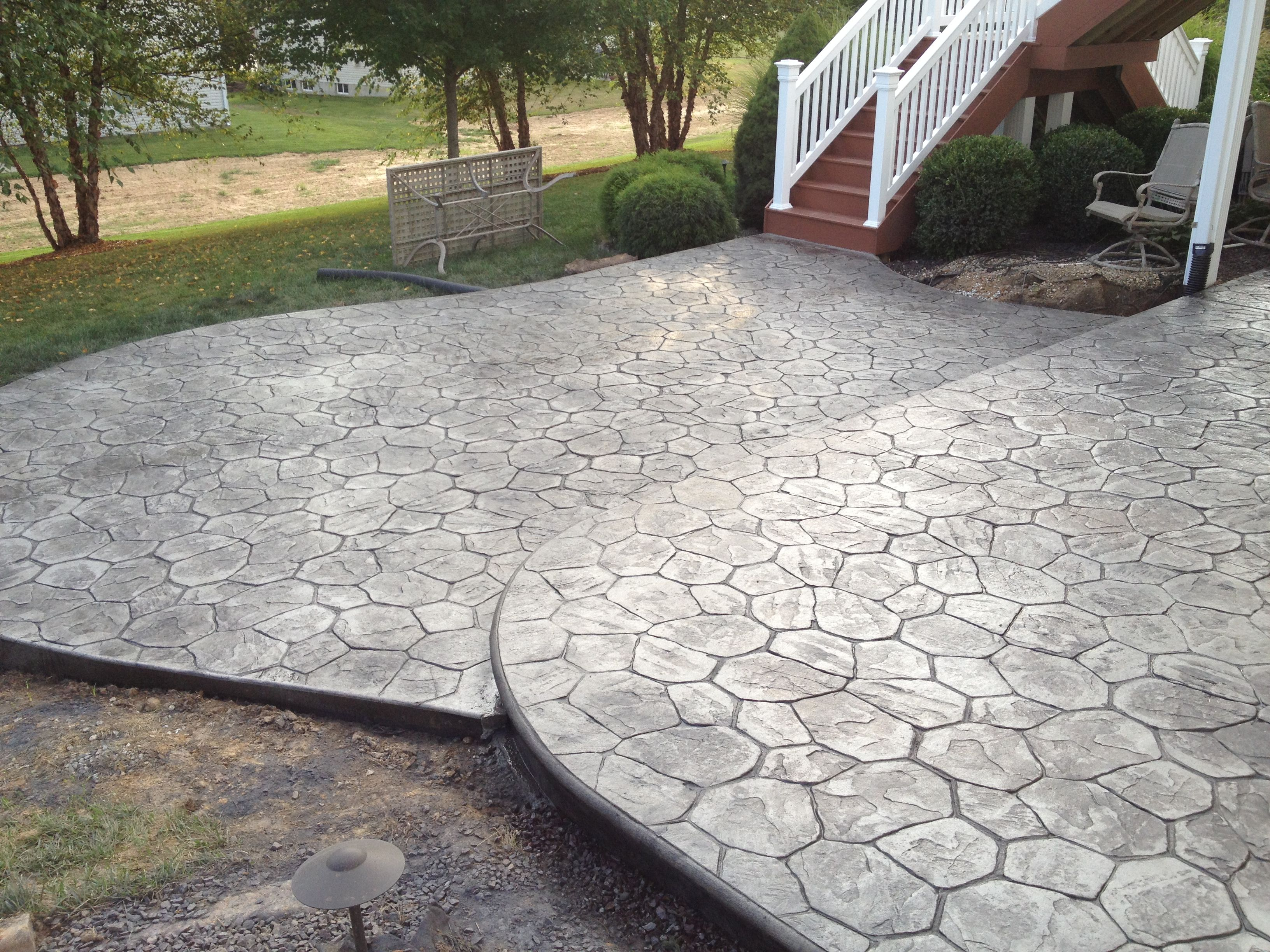 Stamped Concrete Patio  Tiered  Led Rope Lighting To
