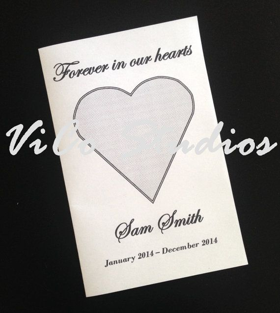 Easy and Most Affordable Printable Funeral Memorial Template Forever in our Hearts by ViCoStudios.