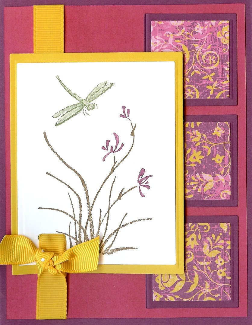 handmade card with an Asian theme ... Japanese iris and a dragonfly ... pretty layout in gold, cream and magent colors ... Stampin' Up!