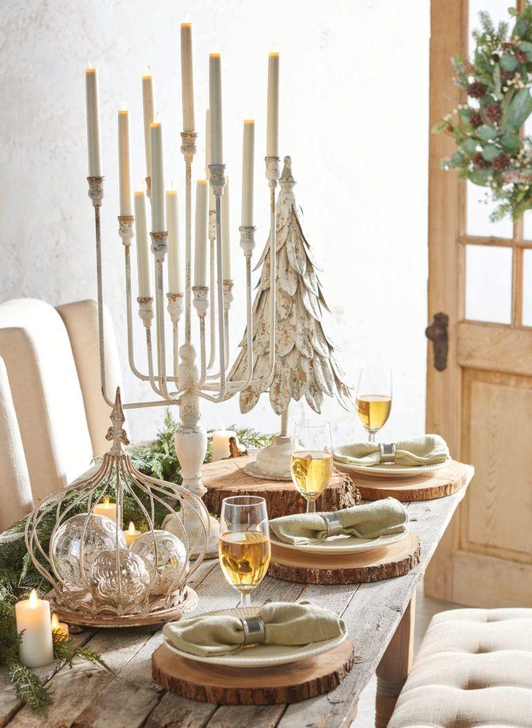 Easy Elegant Flameless Candle Christmas Centerpiece Ideas Farmhouse Table Centerpieces Candle Decor Christmas Candle Decorations
