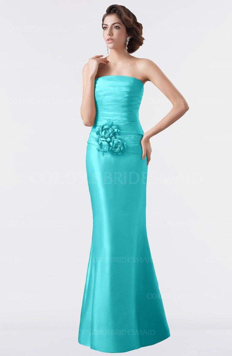 Turquoise Classic Trumpet Sleeveless Backless Floor Length ...