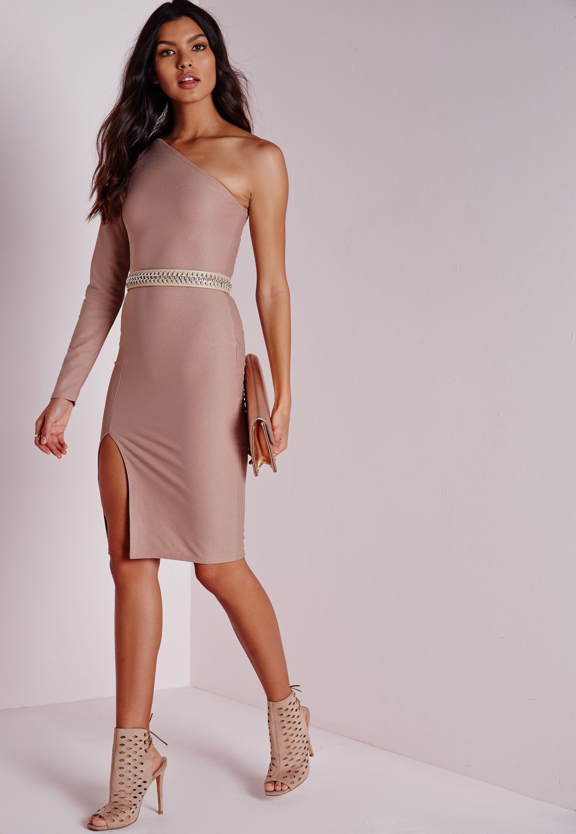Missguided one shoulder long sleeve midi dress taupe my style
