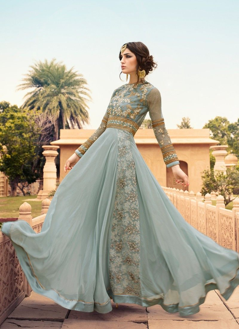 c976ea9f250f Light Blue and Gold Embroidered Anarkali in 2019