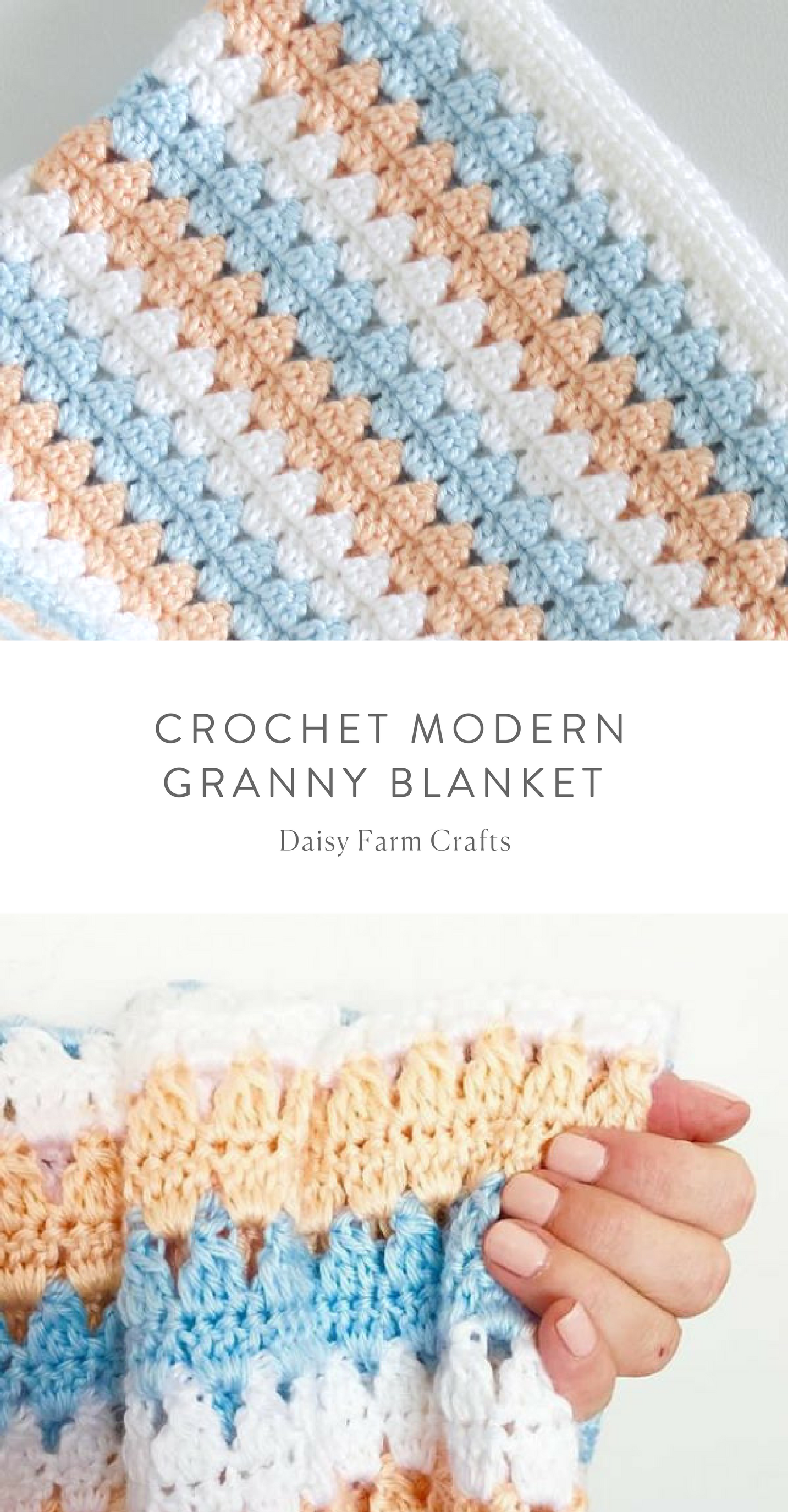 Free Pattern - Crochet Modern Granny Blanket in Peach and Blue | DIY ...