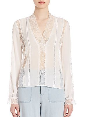 Alice + Olivia Renesmee V-Neck Lace Top - Cream