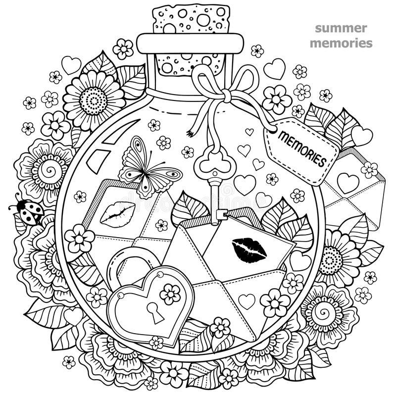 Coloring Book For Adults A Glass Vessel With Memories Of Summer A Bottle With Aff Glass Vessel Me Coloring Books Heart Coloring Pages Coloring Pages