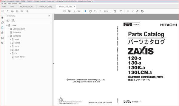 Hitachi Zaxis Zx120 3 Zx130 3 Zx130k 3 Zx130lcn 3