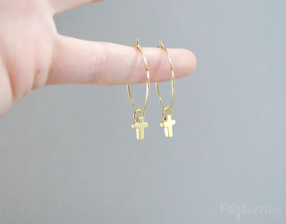 Tiny Hoop Earrings With Cross Small Gold