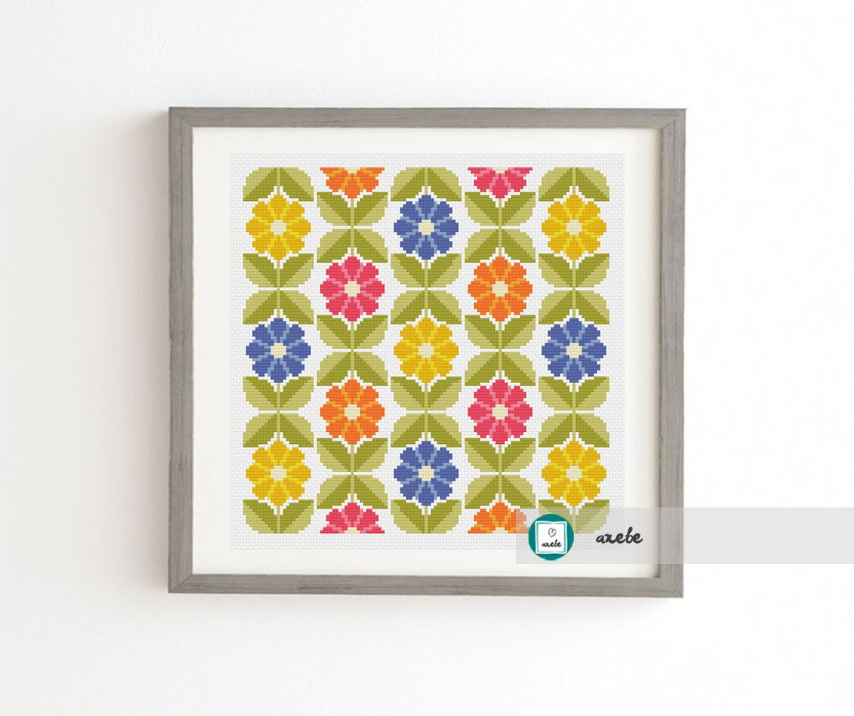 Scandinavian Flowers Seamless Pattern Cross Stitch Pattern Modern