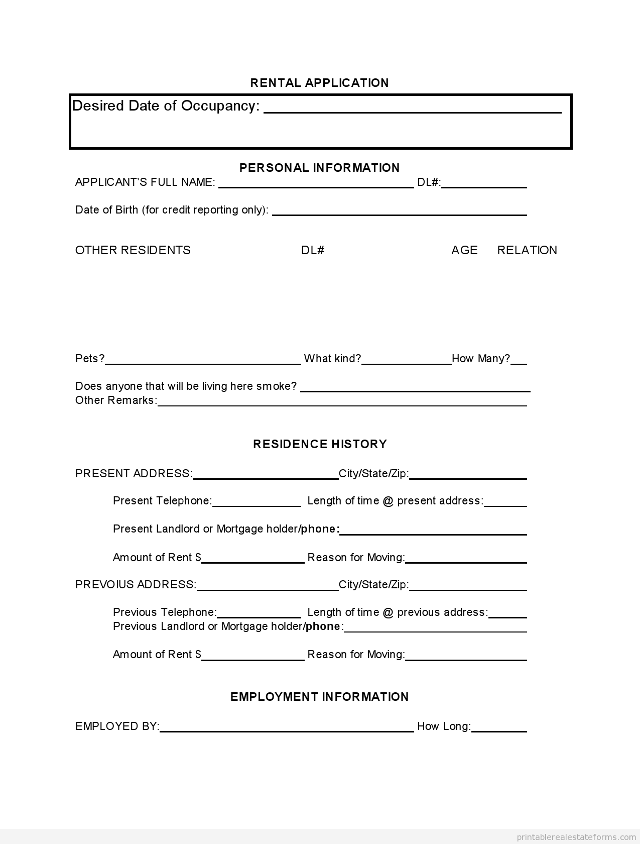 Sample Printable Tenant Rental Application Form  Printable Real
