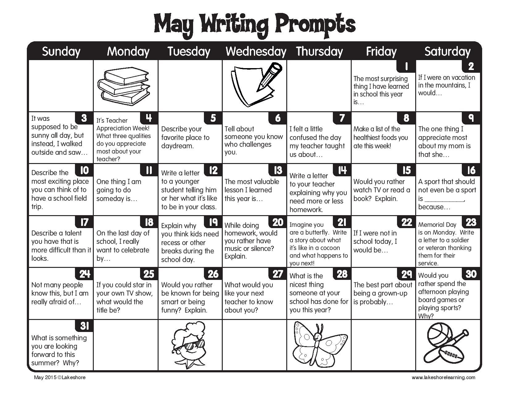 May writing prompts | Summer writing prompts, Elementary writing ...