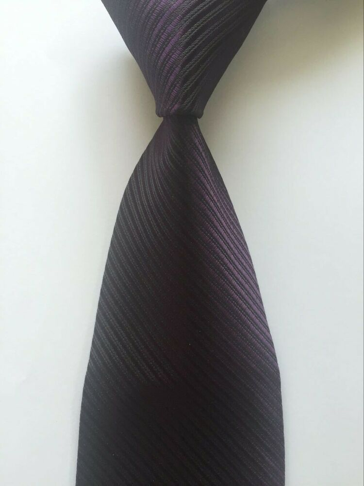 New Classic Stripes Purple White JACQUARD WOVEN 100/% Silk Men/'s Tie Necktie