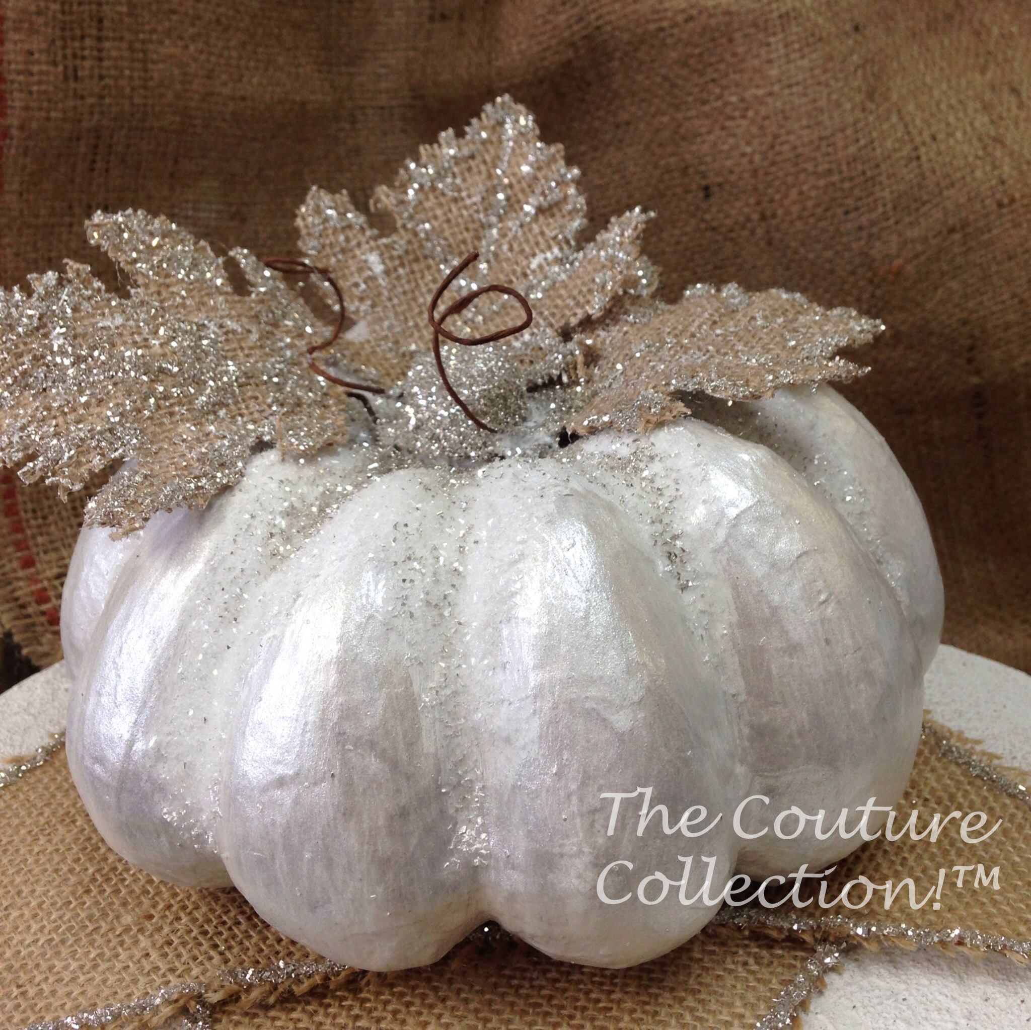 White Couture Pumpkin Created Using Arctic White Brilliant White Weathered Gray Glaze And Pure S Glitter Projects German Glass Glitter Christmas Mesh Wreaths