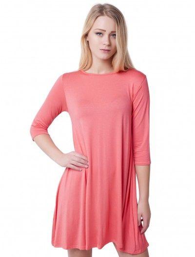 Women Fashion Plain Swing Dress    #fashionwholesaler #plain  #coral
