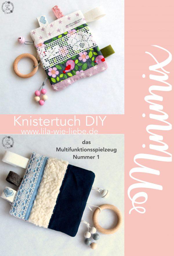 """Photo of Knistertuch """"Minimix"""" nähen – kostenlose Anleitung für ein Multifunktionsspielzeug – Lila wie Liebe"""
