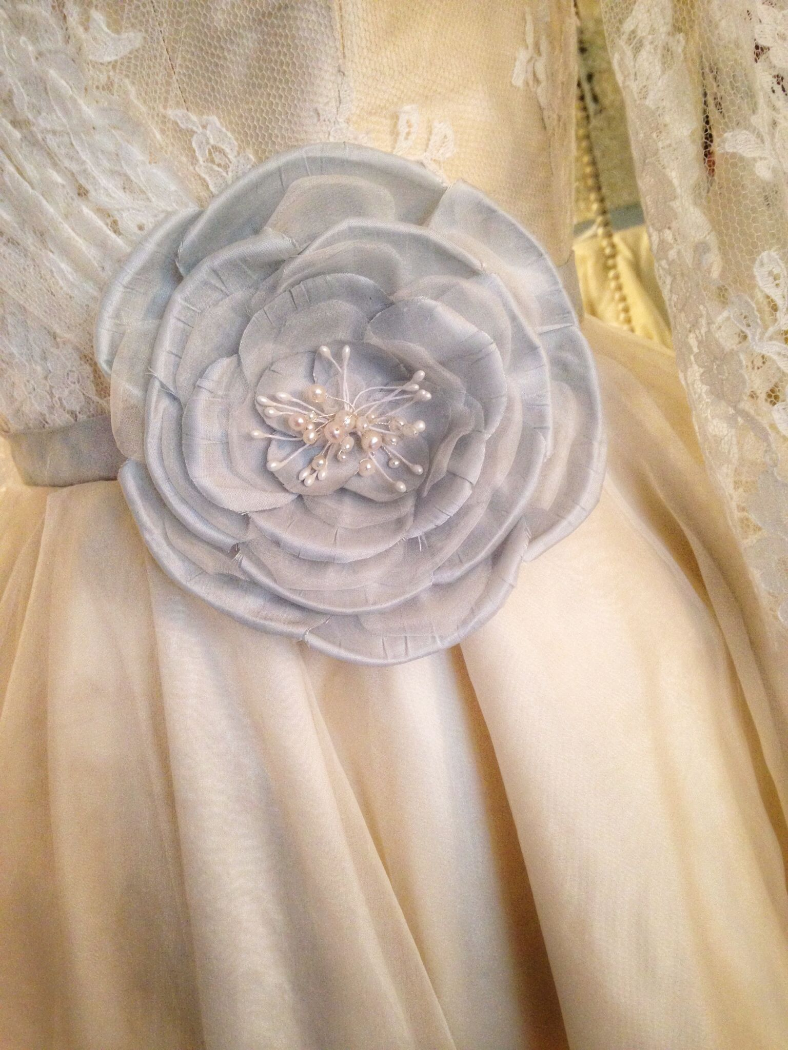 Joanne Fleming Design ivory and pale blue French lace and