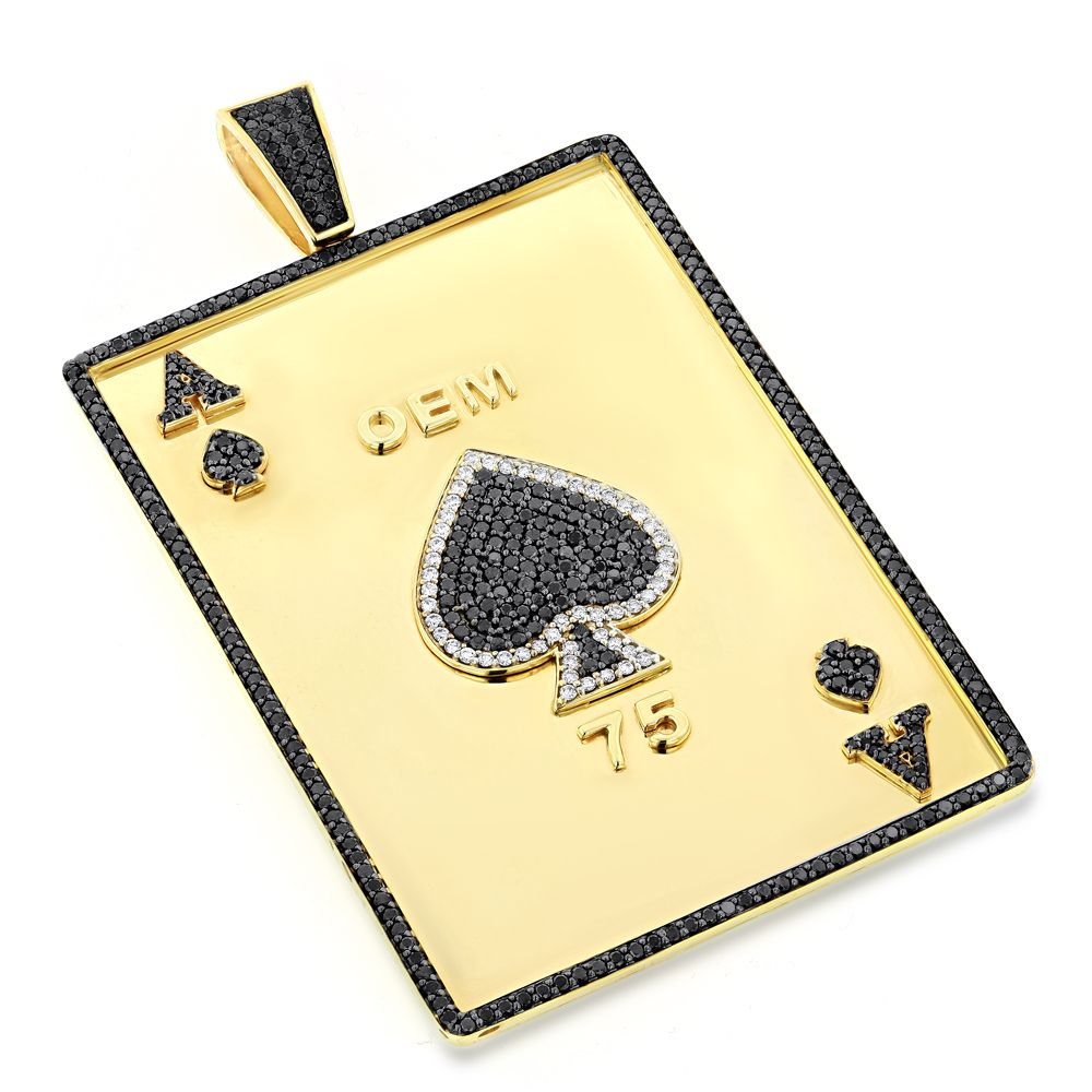 Custom Mens Pendands Ace of Spades Diamond Pendant 10k Solid Gold