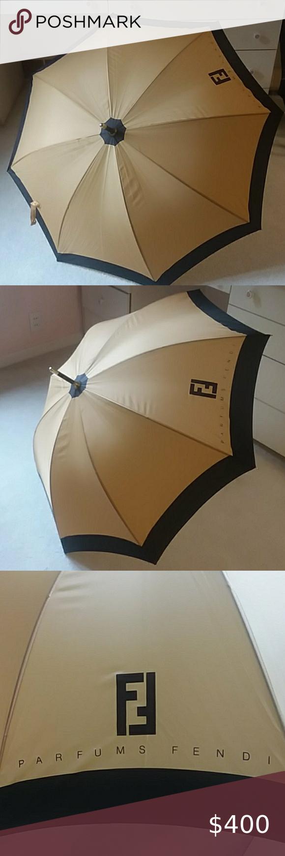 Authentic Fendi Parfums Tan Black Umbrella In 2020 Fendi Black Umbrella Umbrella