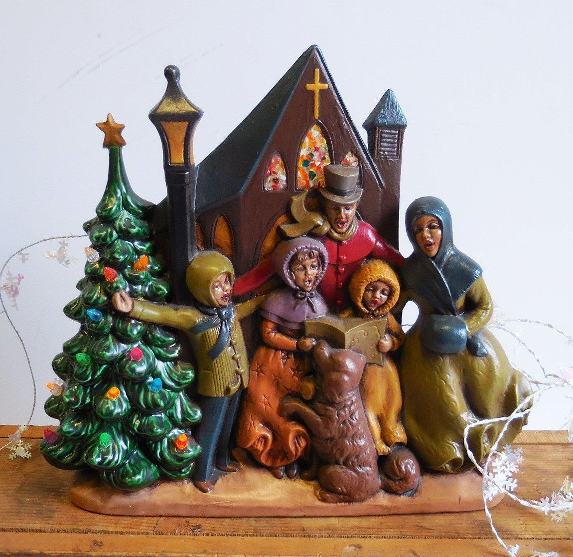 Singing Carolers Candleholders Figurines Vintage By: Vintage Ceramic Christmas Tree Atlantic Mold Light Up