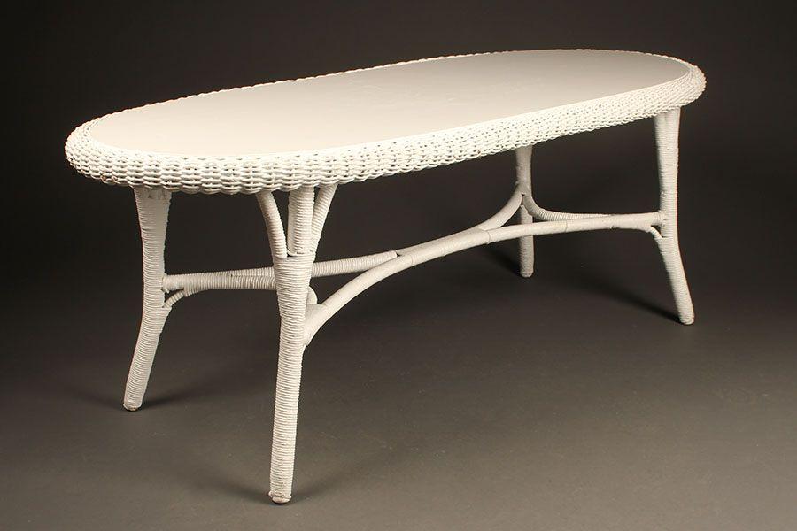 Oval Vintage Wicker Coffee Table, Circa 1920u0027s. #wicker #antique  #coffeetable #