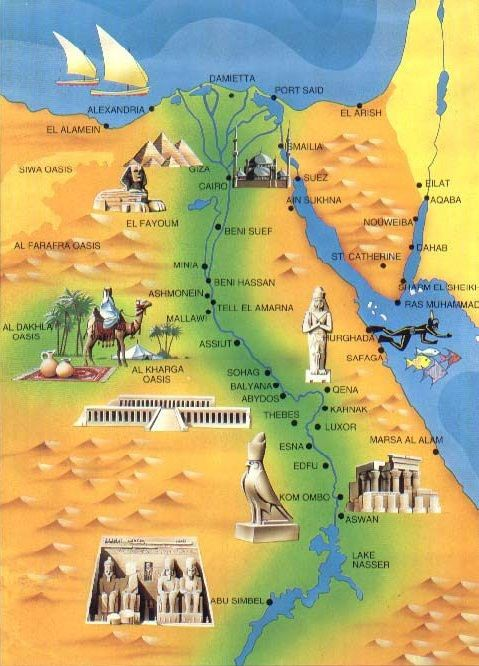 Map of Ancient Egyptian sites | Ancient Egyptian Monuments ...