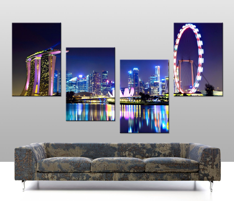 Singapore skyline 4 panel stretched canvas print http www bluehorizonprints com au canvas art 4 split panel singapore skyline 4 panel