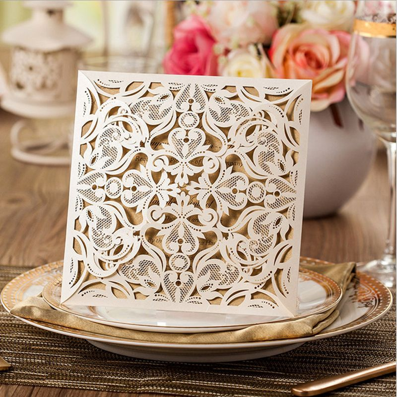 birthday invitation card in hindi%0A    pcs New Arrival Square Beige LaserCut Lace Flower Pattern Customizable  Printable Wedding Invitations Cards