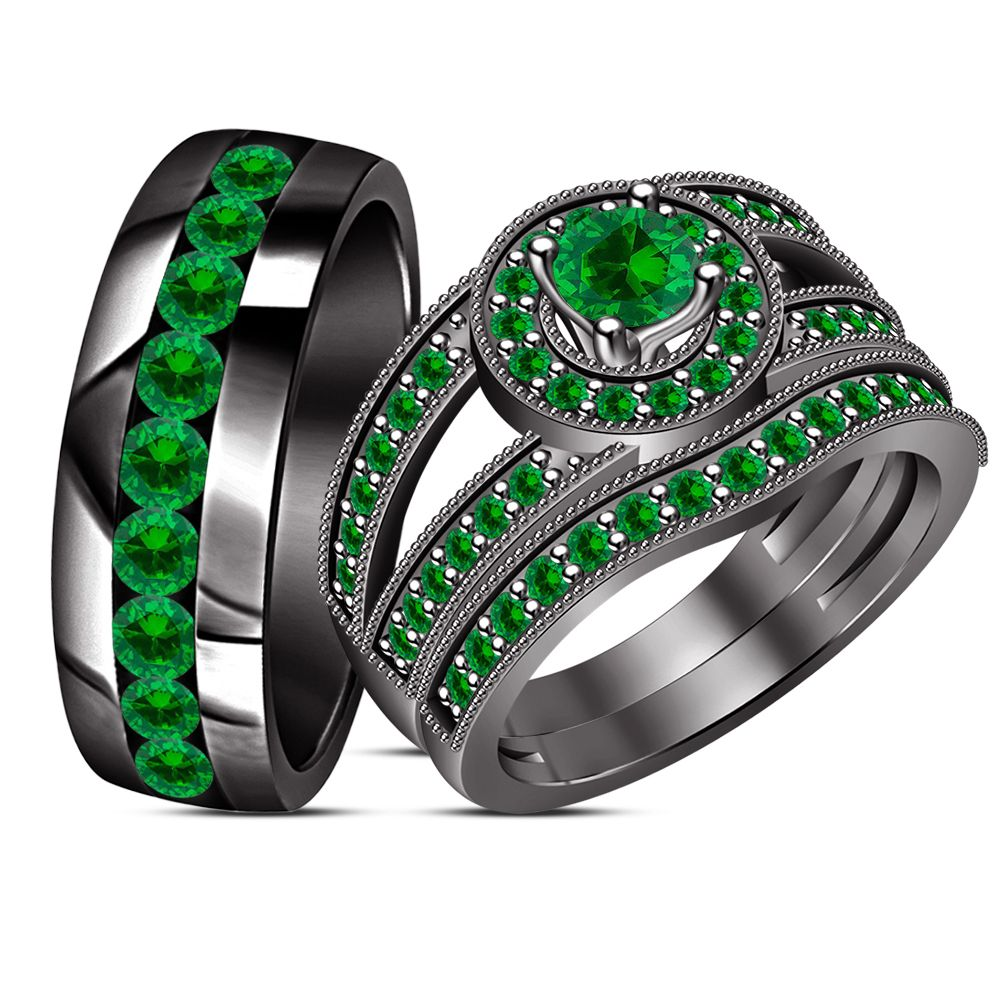 Wedding Band Engagement Ring His Her Trio Set Green Sapphire Black