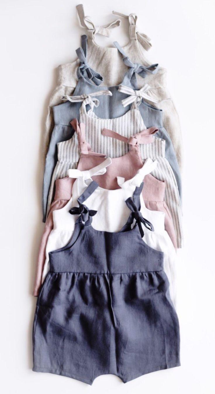 Photo of Beautiful handmade linen baby romper | LittleDeerHandma …