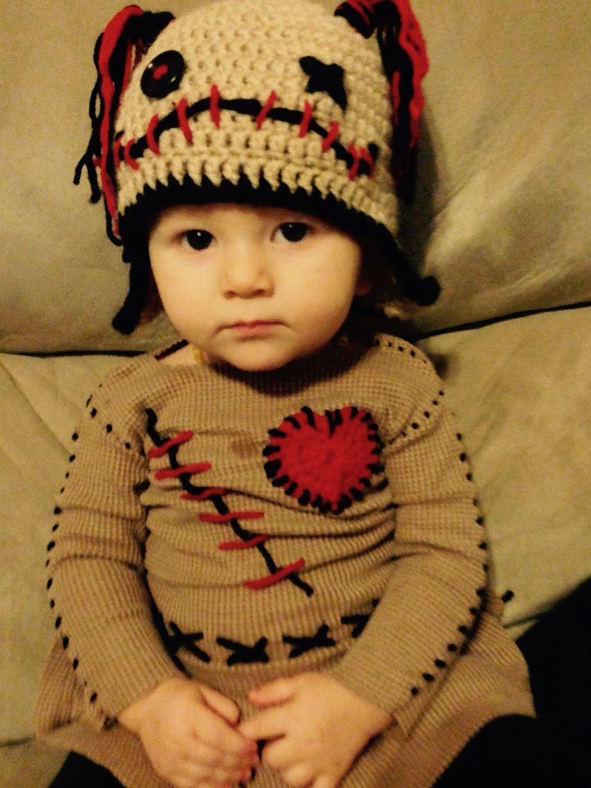 Baby Voodoo Doll Costume! Crochet voodoo hat. Infant Halloween costume.  Voodoo doll costume. 5d3de8fd44ff7