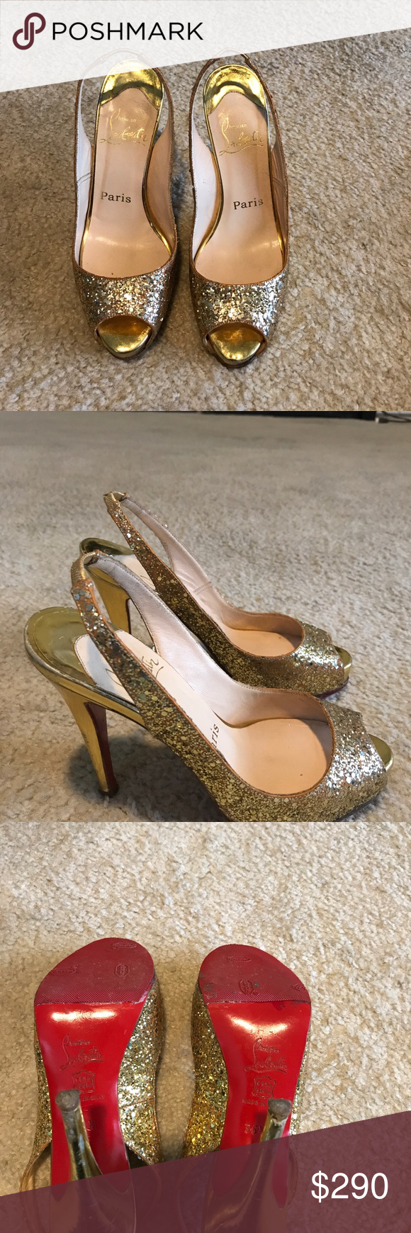 Christian Louboutin Gold Prive Slingback heels Gold glitter slingback style heels with some wear but lots of life left! See photos for shoe details... very comfortable and includes storage bag. No box available. Christian Louboutin Shoes Heels